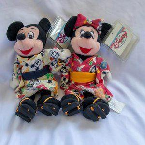 Disney Plush Mickey & Minnie Japanese Kimono Dolls